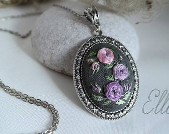 Floral Purple necklace Embroidery jewelry Eco pendant Hand Embroidered pendant Second anniversary gift Wife purple jewelry Ukrainian jewelry