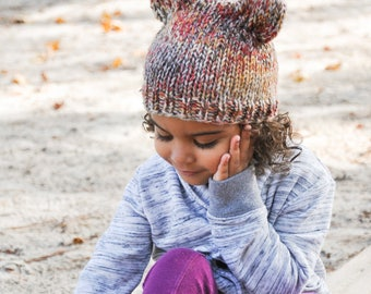 Knit Winter Hat, Beanie, Fox Styled, Mixed Color Yarn, Available in Baby, Toddler and Child Sizes