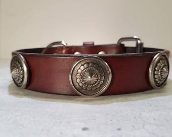 Brown patiné leather dog collar with silver conchos.