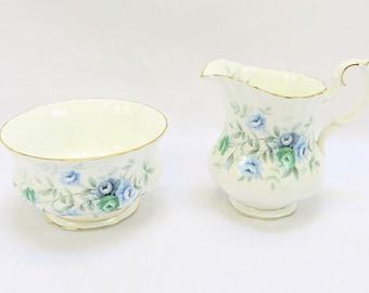 Vintage Royal Albert, Bone China England, ''Inspiration'' Porcelain Milk and Sugarcan with beautiful Flower Decor