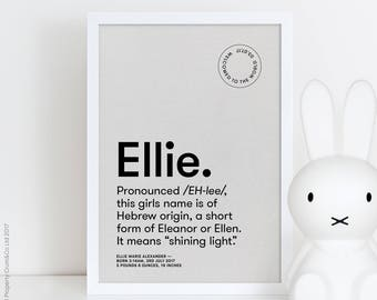Name meaning gift etsy personalised name print baby name poster personalised new baby gift baby name meaning negle Gallery