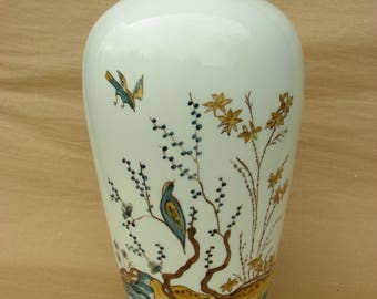 Tall Vase in Delft Pattern