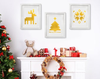 Real Foil Ugly Sweater Style Wall Decor, Gold Foil, Holiday Decoration, Actual Foil Print, Holiday Wallart, Ornaments, Xmas, Modern Decor