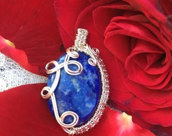 Wire Wrapped Lapis Lazuli Pendant (Throat Chakra Choker or Necklace)