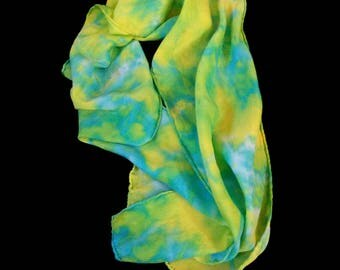 Unique Hand Tie-Dyed Silk/Satin Scarves