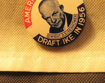 Vintage Political Campaign Button made by Kleenex Tissues in 1968 Ike Eisenhower