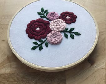 Floral Embroidery Hoop Art