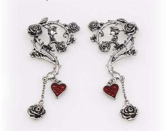 Gothic heart and pink metal earrings, fairy earrings, gothic roses, gothic heart, silver earrings
