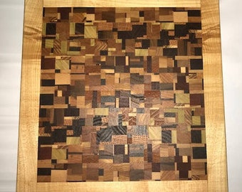 Handmade Chaotic Wood End Grain Cutting Board - Maple Surround