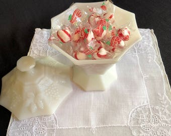 Milk Glass Candy Dish with Lid