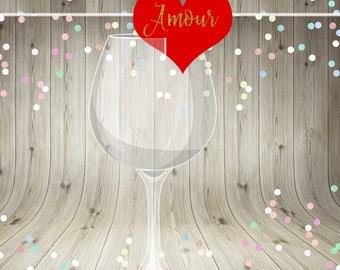 Wedding Glass Decoration, Printable Wedding Decoration, Hearts