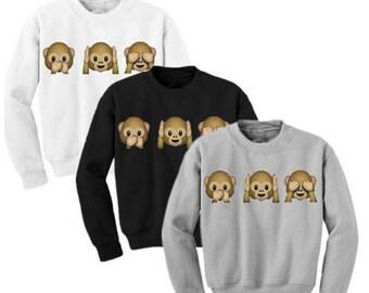 Female Monkey Patterns Women Sweatshirt Autumn Hoodies Long Sleeve O-Neck 3D Emoji Printed Girls Clothing Fleece Hoodie
