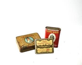Lot of Vintage Tins - Prince Albert, La Palina Cigars, Bronchial Lozenges