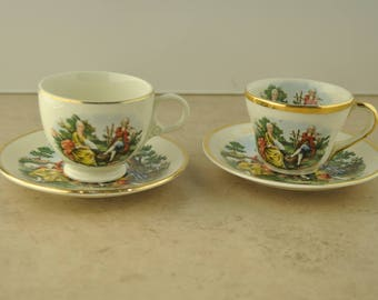 Set of Two Colonial China Espresso/Coffee/Tea Cups with Saucers - Barbar Fritchie Home Frederick, MD.