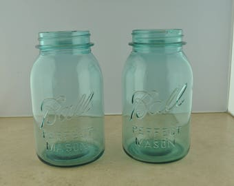 Ball Perfect Mason Blue-Green Glass Quart Jar Set