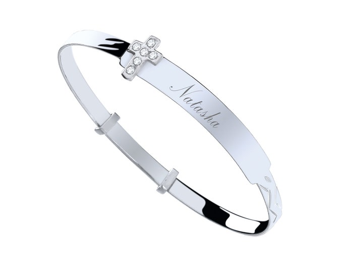 Sterling Silver Cz Cross Baby Identity Bangle - Personalised Name & Message