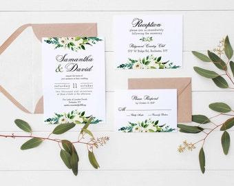 Printable Invitation Suite INSTANT DOWNLOAD, Wedding Invitation, DIY Printables, Templett, Editable pdf, Watercolor White Roses