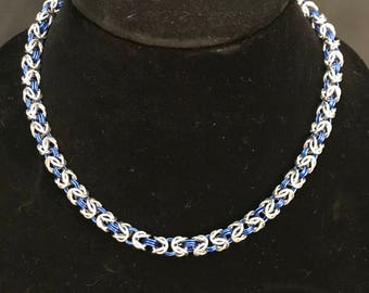 Lovely Byzantine Weave, Silver and Blue Necklace