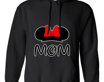 Minnie Mouse Head Mom Mother Gift Design Clothing Adult Unisex Hoodie Hooded Sweatshirt Best Seller Designed Hoodies for Women