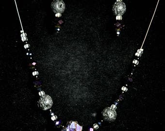 Rock Crystal Quartz Essential Oil Diffussing necklace and dangle earring set.