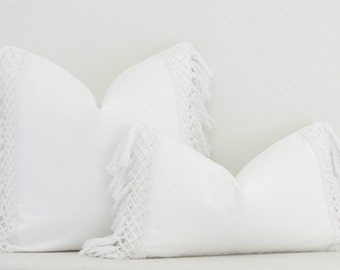 White with Macrame Trim, Pillow Cover,Accent Pillow,Throw Pillow