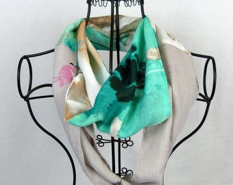 Neck, scarf infinite woman snood was scarf was women, flowers, green neck scarf, grey scarf, reversible scarf
