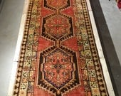 "Vintage Persian Rug 1940's SARAB 3' 6"" x 10' 4"" Handmade, Hand-knotted, Natural Dyes, Bohemian, Boho Chic, Made in Iran 902m"