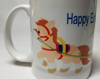 Easter Bunny on Horse and Sleigh Ceramic Mugs, Latte Mugs, Coffee, Tea, Hot Chocolate