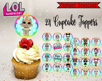 "LOL SURPRISE dolls Birthday Party Cupcake Topper ~  24 x 2.5"" Printable Round Topper 