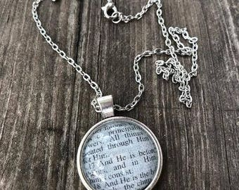 Scripture Necklace Colossians 1:17 Antique Silver