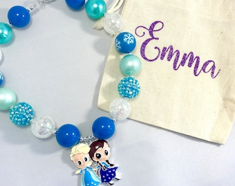 Anna and Elsa Frozen inspired bubble necklace