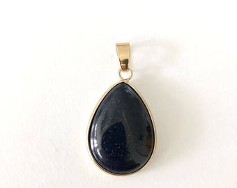 1 Pc, Blue Sand Stone Pendant,  Rose Gold Plated,  18x25 mm,