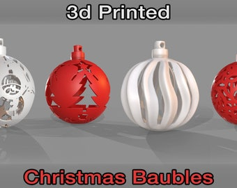 Set of 4 3D Printed Christmas Baubles - Made to Order / Decorations / Print / Happy / Gift / Xmas / Design