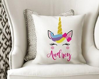 UNICORN PILLOW, Girl Name Pillow, UNICORN Nursery Decor, Unicorn Birthday Gift, Unicorn Bedroom, Girl Pillow Cover or With Insert