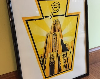 Cathedral of Learning fine art print, handmade screen print, University of Pittsburgh art, Pitt Panthers 11x14