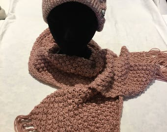 Hand knitted luxury scarf and hat set