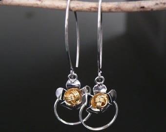 Handmade Silver Flowers Earrings, Flowers Jewelry, Silver 925, Christmas Gift, Sexy and Charm Earrings, Dangle Silver Earrings, ER-006