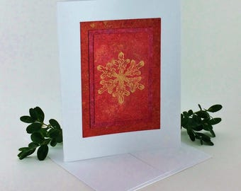 Snowflake fire embossed blank card, individually handmade on hand-painted papers: A2, winter, original, notecards, fine cards, SKU BLA21033