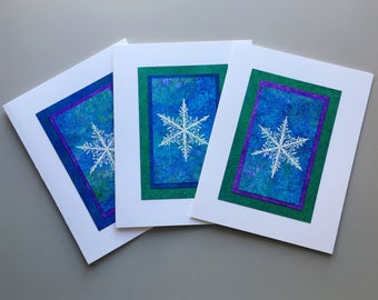 Embossed snowflakes on hand painted papers blank cards (set of 3), individually made: A2 notecards, SKU BLA21066