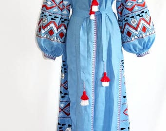 Boho Dress Bohemian Clothing Embroidered Dresses Bohochic Clothes Ukrainian Embroidery Open Kaftan Dress Long Abaya Vyshyvanka Vishivanka