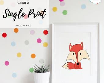 Fox Wall Art- Fox Nursery Art- Woodland Nursery Print- Woodland Wall Art- Fox Print- Children's Nursery Art- Cute Animal Art- Fox Prints