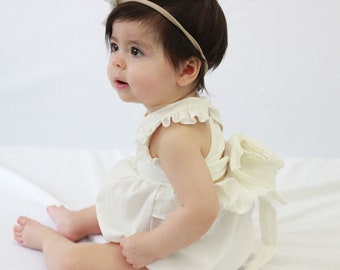 White linen romper, romper, baby clothes, baby girl clothes, baby girl,  toddler, lace, cross back, flower girl, baby wedding, romper, baby