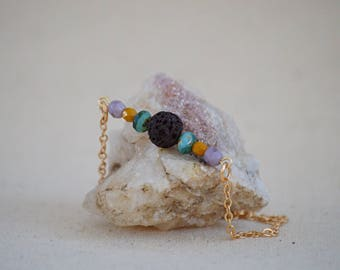Essential Oil Diffuser Necklace - Lava Stone/Czech Beads