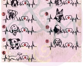 Dog Car Decal - Pit Bull Car Decal, German Shepherd Car Decal, Boston Terrier Car Decal, Dachshund Car Decal, Dog Heartbeat Car Decal