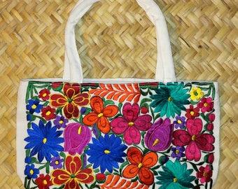 Embroidered Mayan Floral Shoulder Bag...