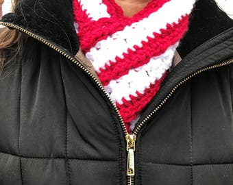 Crocheted Red and White Scarf