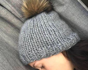 The Fur Baby Beanie | Knit Winter Toque | Fur Pom Pom Hat | Beanie