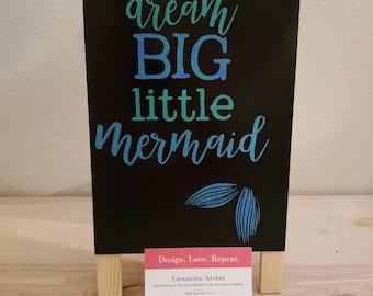 Kids Room Decor / Girls Sign / Mermaid / Sparkle / Easel / Handmade / Kids Display / Cute / Chalk Paste / Reversible / Cartoon Art