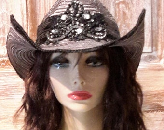 black and Silver Cowgirl Hat