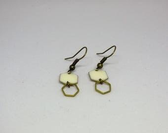 Bronze and white/Hexagon/geometric/dangling earrings